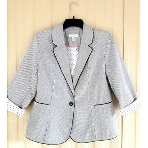 Dress Barn Blazer Pinstripe 3/4 Sleeve Jacket Cute